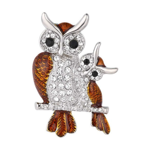 Owl Mother & Child Love Rhinestone Lapel Pin