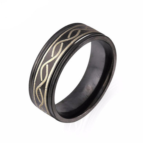 Celtic Twist Etched Black Stainless Steel Band Ring For Men
