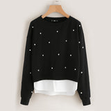 Pearl Beading 2 In 1 Sweatshirt Women's Sweatshirt Black Pullover