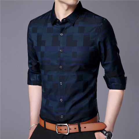 Business Casual Plaid Long Sleeve Shirt
