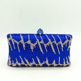 Crystal Evening Party Metal Clutch Purse For Women with Should Single Strap
