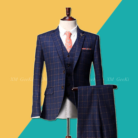 High Quality New Fashion Men's Suit in Blue Plaid with Three Piece Sets - Jacket, Vest & Pants