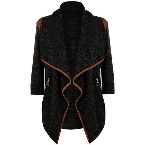 Cardigan Wool Blend Winter Coat - Vintage Style Knitted Long Asymmetric