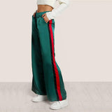 Striped Side Tailored Wide Leg Green High Waisted Pants