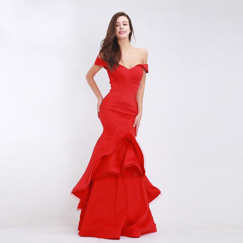 Red Evening Tiered Taffeta Dresses Long Mermaid Elegant Gown