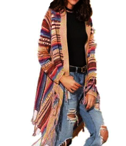 Women's Aztec Cardigan Striped Knitted Sweater with Batwing Sleeves