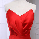 Glorious Red Satin Mermaid Evening Dress, Sweetheart and Sleeveless Formal Evening Gown