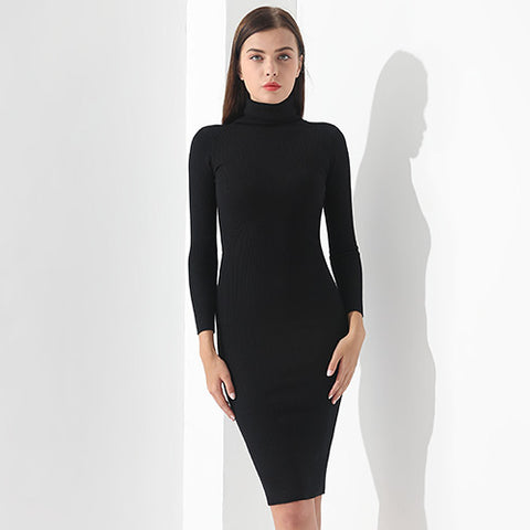 The Works Well Every Day Turtleneck Black Dress - ParisMETROCouture.com