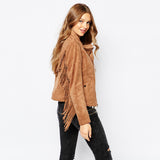 Women's Fringe Motorcycle Suede Jacket