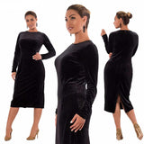 Elegant Winter Women Velvet Dress with Long Sleeve Bodycon and So Sexy !
