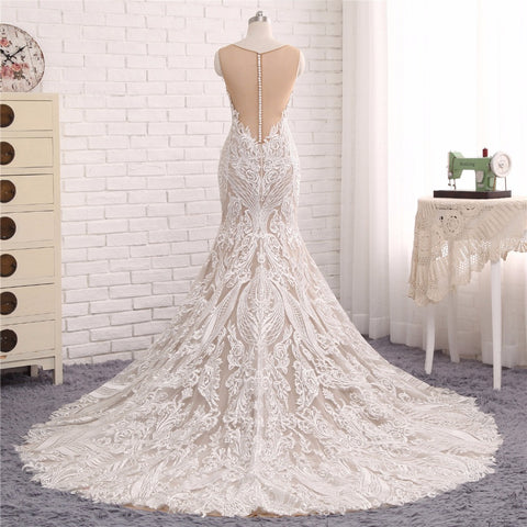 Custom Made to FIt Sheer Lace Wedding Scoop Neck Mermaid Bridal Gown
