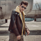 Men's Shearling Aviator Flight Jacket Imported Wool From AU-Lt Brown