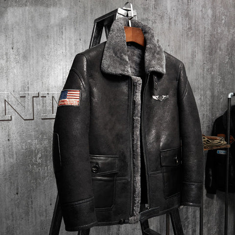 Men's Shearling Aviator Flight Jacket Imported Wool From AU-Black