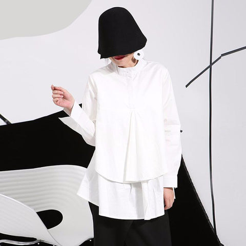 Flowing Modern Beautiful Blouse for Winter in Black or White - ParisMETROCouture.com