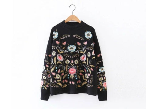 Fold Art Heavy Embroidery Boho Knit Pullover Sweater