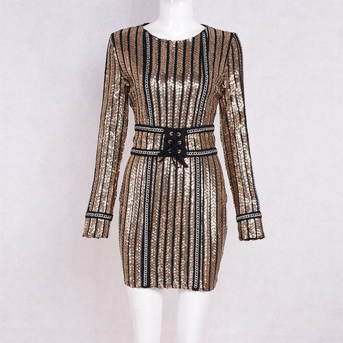 Glam Shimmer Winter Sequined Dress Club with Long Sleeves for Women