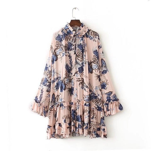 Holiday Mini Vintage Print Dress of Hollow-Out Finishes Ruffles