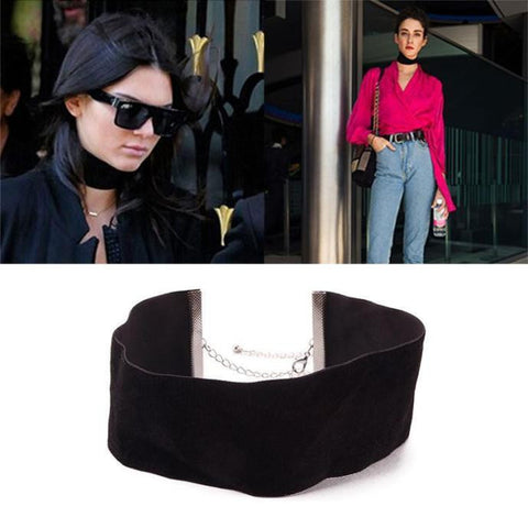 Velvet Wide Choker Necklace - ParisMETROCouture.com