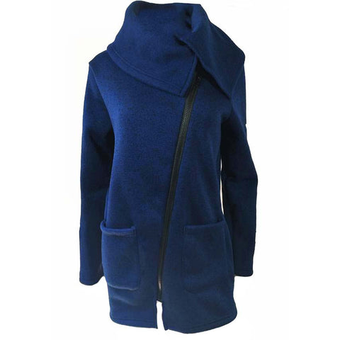Winter Casual - Knitted Wool Blend Turtleneck with Pockets and Zipper Long Parka for Women