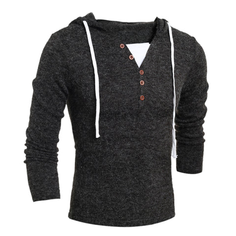 Pullover Men's Casual Slim Hooded Wool Sweater