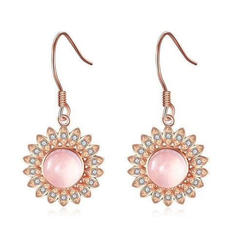 Luxury 3CT Natural Rose Quartz 925 Sterling Silver Drop Earring