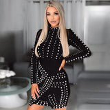 Riveted Sexy Black Long Sleeve Metal Beaded  Bodycon Dress for Women