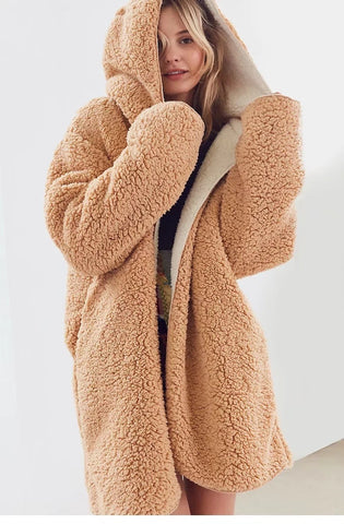 OH SO Terry! Hooded Long Lamb Wool Women's Coat