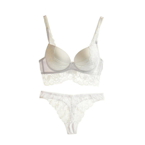 Sexy Push Up Lace Bra & Thong Brief Made of Transparent Patchwork Lingerie Set