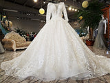 Organza Delicate Backless Bridal Royal Train Wedding Gown in Beautiful Ivory