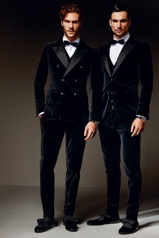 Double Breasted Velvet Formal Slim Fit 3-Piece Tuxedo Custom Fit