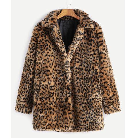 Leopard Faux Fur Oversized Winter Party Coat For Women
