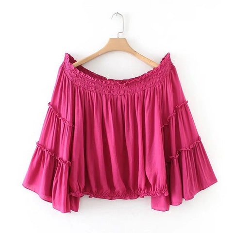 2018 Spring New Sexy Cotton Solid Color Ruffles Boho Crop Top