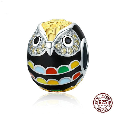 Genuine 925 Sterling Silver & Gold Enamel Owl Charm Bead