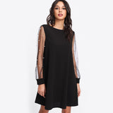 Elegant Womens Pearl Beading Mesh Sleeve Tunic Dress