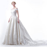 Off Shoulder Pleat A line Skirt Lace Queen Style Beaded Wedding Dress