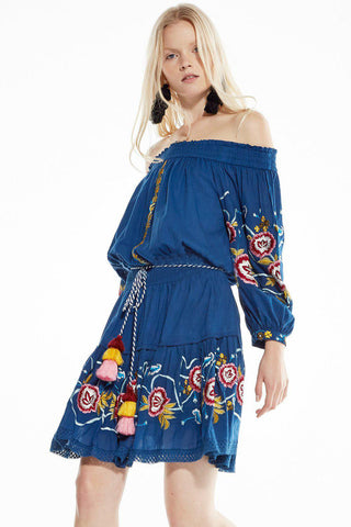 2018 Blue Denim Embroidery Boho Off Shoulder Dress
