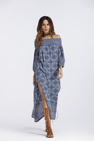 2018 Off Shoulder Beautiful Boho Split Spring Maxi Dress
