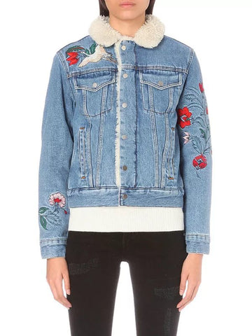 Casual Fur Lined Embroidery Denim Jacket