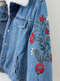 2018 Casual Winter Fur Lined Embroidery Denim Jacket