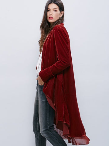 Follow Me Velvet and Chiffon Trench Winter Coat