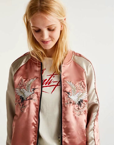 Edge Satin Sport Animal Embroidered Zipper Jacket