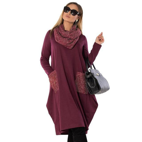 Beautiful Sweater Dress Casual Roll Neck Winter Trend