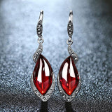 Vintage Gemstone Thai 925 Silver Garnet Wedding Drop Earring