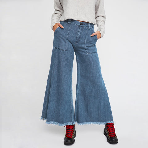 Very Nice Ripped Vintage Wide Leg Fringe Denim Jeans