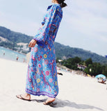 Beach Boho Peacock Print Button Ruffle Skirt with Seperate Blouse