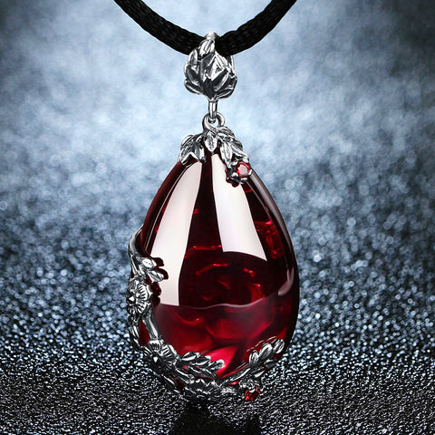 Royal Garnet Gemstone 100% 925 Sterling Silver Pendant Necklace