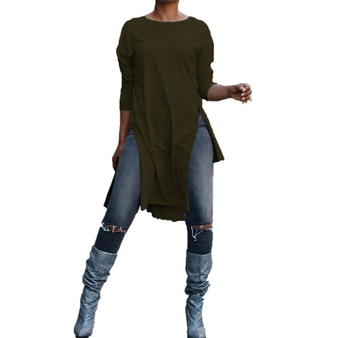 O Neck Long Sleeve Split Hem Loose Long Blouse