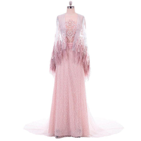 Illusion Lace Cap Feather Shoulder Long Train Pink Evening Dress