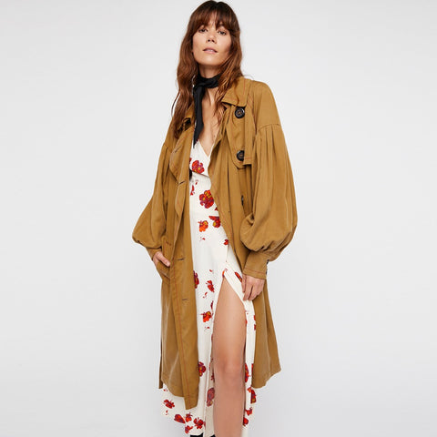 Beautiful Boho Trench Cotton SIngle Breasted Coat