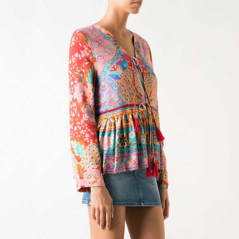 Floral Print Kimono and Tassel Long Sleeve Blouse